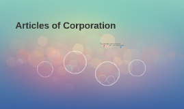 Articles of Corporation