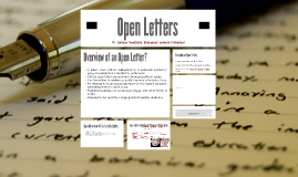 Copy of Open Letters