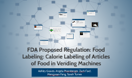 FDA Proposed Regulation: Food Labeling: Calorie Labeling of