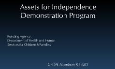 Grant Proposal for Assets for Independence Demonstration Program