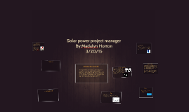 Solar power project manager
