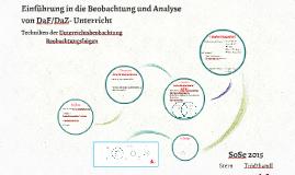 Einführung in die Beobachtung und Analyse von DaF/DaZ- Beobachtungsbögen