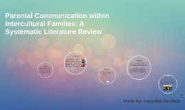 Parental Communication within Intercultural Families: A Syst