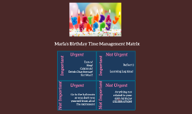 Marla's birthday time management matrix