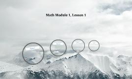 Math Module 1, Lesson 1