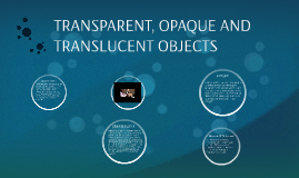 TRANSPARENT, OPAQUE AND TRANSLUCENT OBJECTS