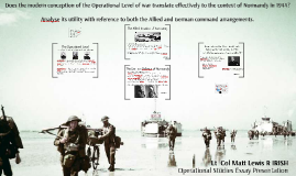 Does the modern conception of the Operational Level of war t