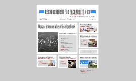 RECHERCHIEREN FÜR FACHARBEIT & CO
