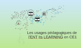 Les usages pédagogiques de  l'ENT Its LEARNING EN CE1