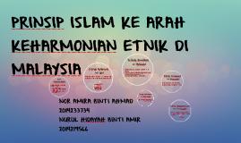 PRINSIP ISLAM KE ARAH KEHARMONIAN ETNIK DI  MALAYSIA