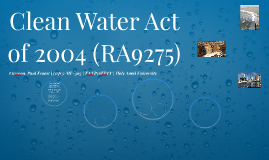 Clean Water Act of 2004 (RA9275)