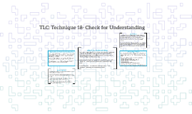 TLC: Technique 18- Check for Understanding