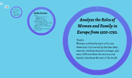 Analyze the Roles of Women and Family in Europe from 1500-17