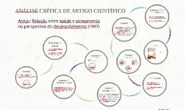ANÁLISE CRÍTICA DE ARTIGO CIENTÍFICO