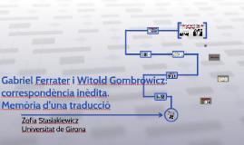 Gabriel Ferrater i Witold Gombrowicz: correspondència inèdit