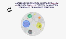 ANÁLISIS DE CRECIMIENTO IN VITRO DE Botrytis cinerea EN MORA