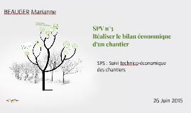 SPV n°3 Réaliser un bilan économique d'un chantier