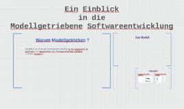 Einblick in die Modellgetriebene Softwareentwicklung