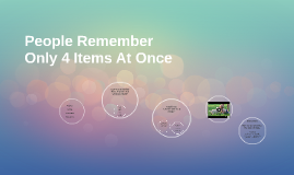 People Remember Only 4 Items At Once