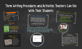 Three Procedures Teachers Can Use With Their Students