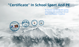 Certificate In School Sport and PE