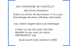 Info CAMPAGNE DE CHOCOLAT
