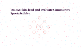 Unit 5: Plan, lead and Evaluate Community Sport/Activity.