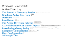 COMP 213 - Week 004a - Active Directory Introduction