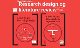 Specialekursus: Research design og literature review
