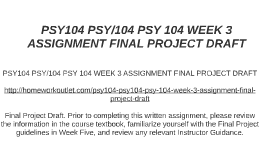 PSY104 PSY 104 WEEK 3 ASSIGNMENT FINAL PROJECT DRAFT By Laurens On Prezi