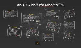 AIM HIGH SUMMER PROGRAME-MATHS