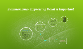 Summarizing - Expressing What is Important