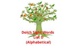 Dolch Sight Words List D Alphabetical