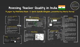 Assessing Teacher Quality in India