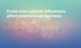 Know how cultural differences affect international business