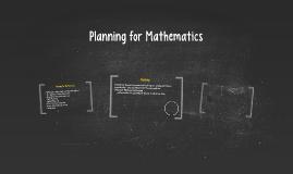 Planning for Mathematics