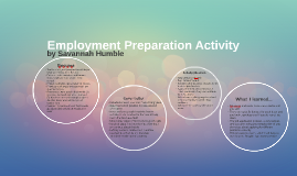 Employment Preparation Activity