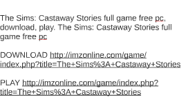 sims castaway pc download free full