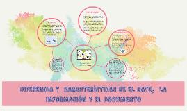 DIFERENCIA Y  CARACTERÍSTICAS DE EL DATO,  LA INFORMACIÓN Y
