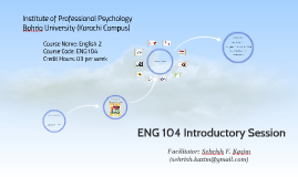 ENG 104 Introductory Session