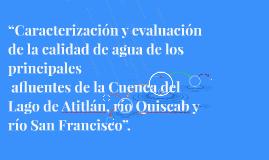 """""""Caracterización y evaluación de la calidad de agua de los p"""
