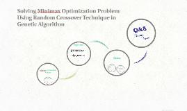 Solving Minimax Optimization Problem Using Random Crossover