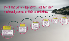 Meet the Editor: Top Seven Tips for Peer Reviewed Authorship