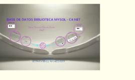 Base De Datos Biblioteca C#.NET