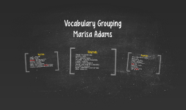 Vocabulary Grouping