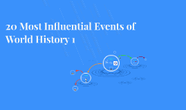 20 Most Influential Events of World History 1