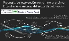 Copy of Propuesta de intervención: como mejorar el clima laboral en