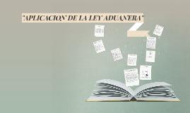 APLICACION DE LA LEY ADUANERA
