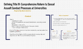 Defining Title IX: Comprehensive Reform to Sexual Assault Co
