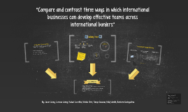 """Compare and contrast three ways in which international busi"